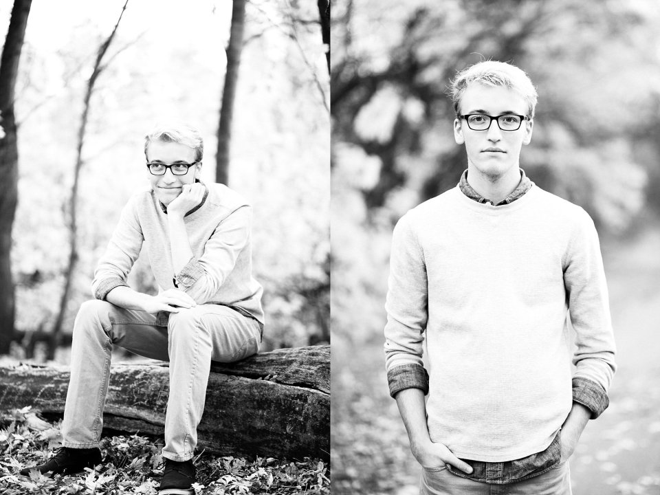 High School Senior in Fargo, ND wears collared shirt and sweater in Lindenwood park
