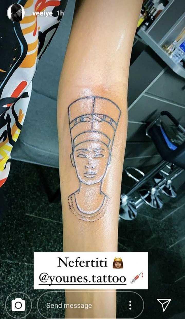BBNaija's Vee gets her second tattoo - an ancient Egyptian Queen