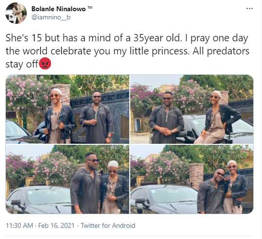 Actor Bolanle Ninalowo warns as he shares new photos with his 15-year old daughter