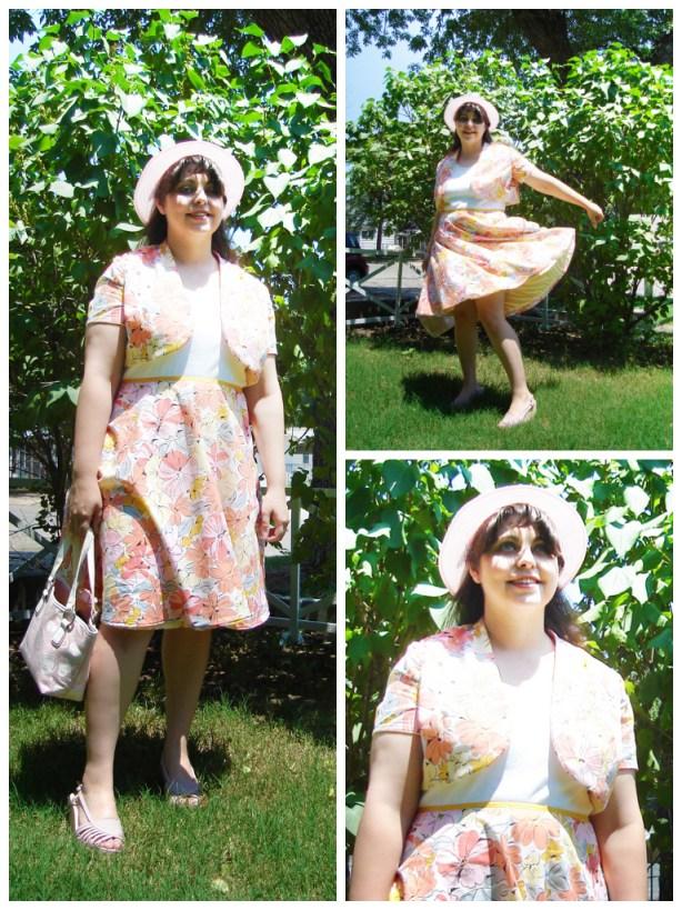 Me enjoying my new peachy dress