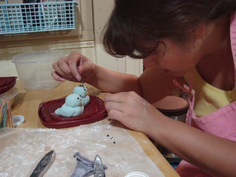 Me sculpting the birds