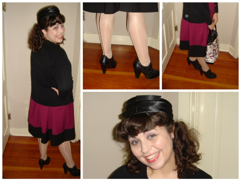 My birthday outfit worn with seamed tights, new shoes, Lulu purse and vintage hat