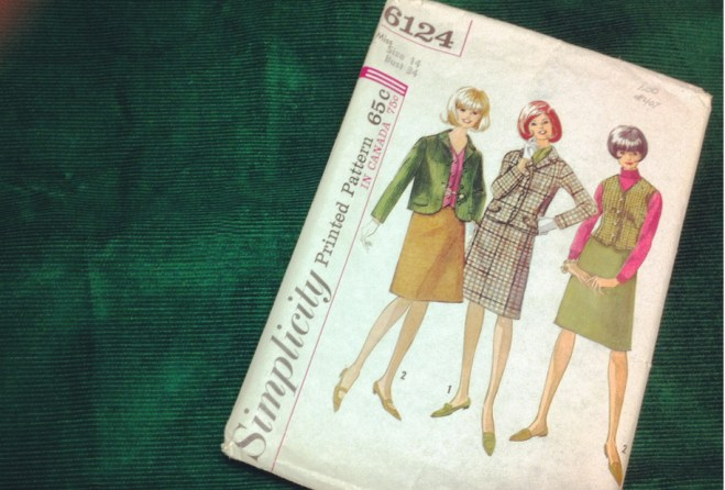 Vintage Simplicity 6124 and green corduroy