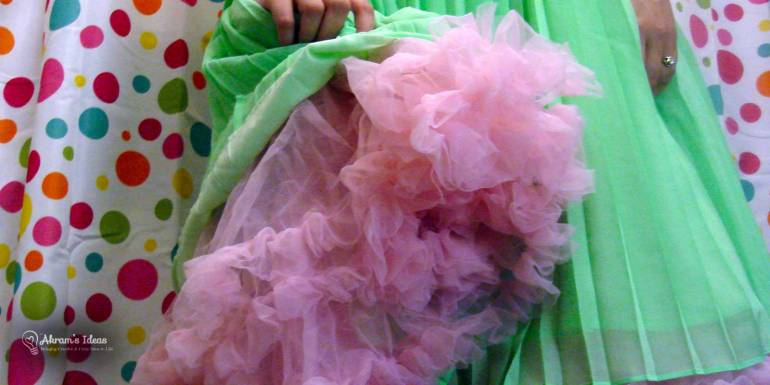 Pink petticoat with mint green dress