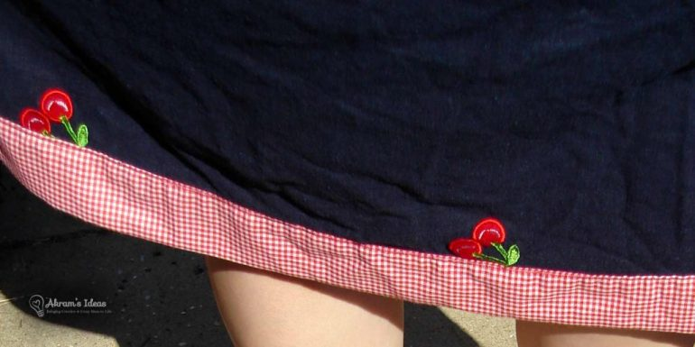 Trim of the skirt with contrasting gingham fabric