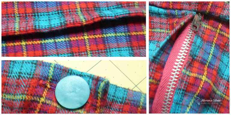 French seams, vintage blue button and vintage metal zipper