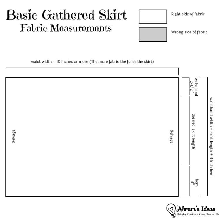 Akram's Ideas Gathered Skirt Measurments
