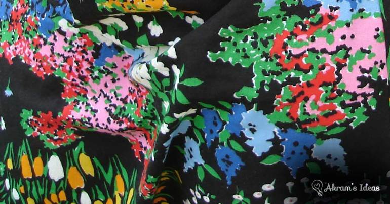 Black floral fabric from my stash