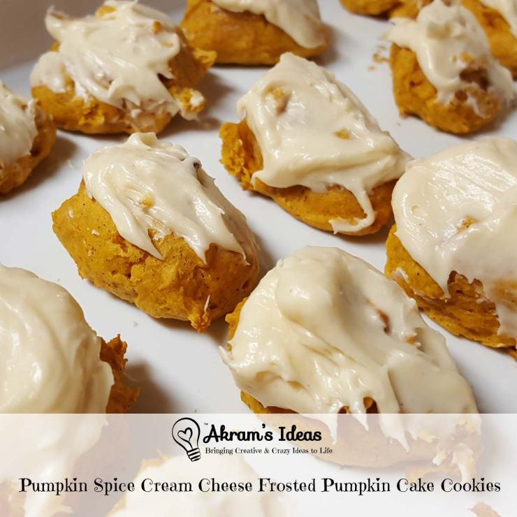 Akram's Ideas : Pumpkin Spice Cream Cheese Frosted Pumpkin Cake Cookies