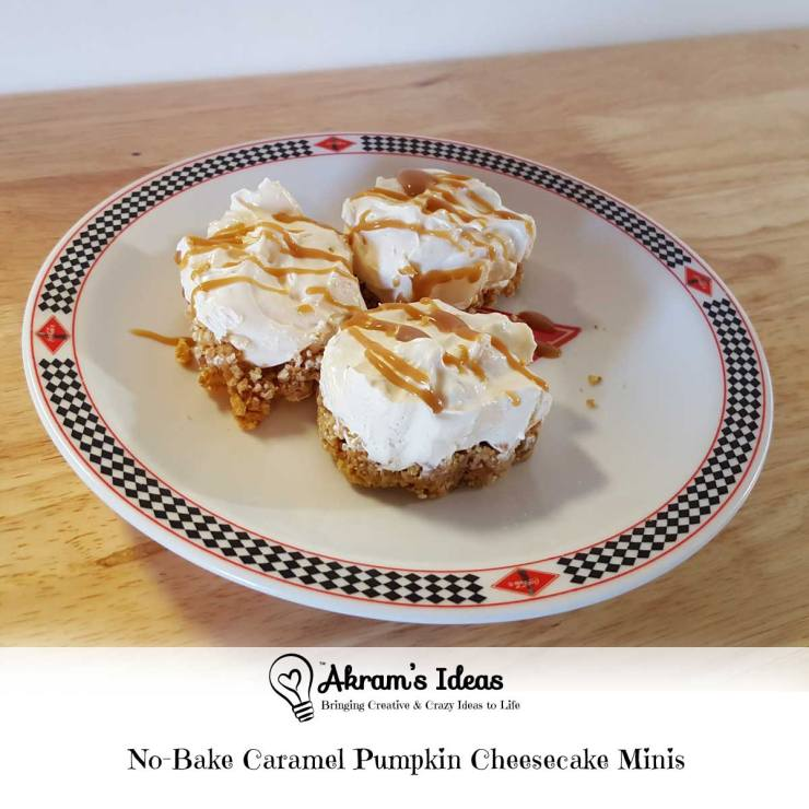 Akram's Ideas: No-Bake Caramel Pumpkin Cheesecake Minis