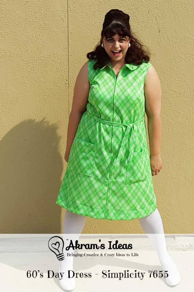 Review of my latest #vintagepledge pattern Simplicity 7655, which I made a fashionable 60's day dress from vintage green plaid polyester.