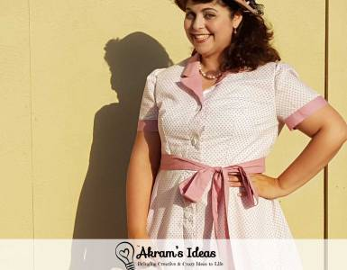 1940's inspired shirtdress with sleeves, made with McCalls 4769 pattern out of a pink floral print and dusty rose pink contrast.