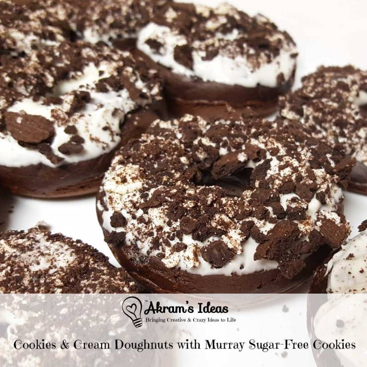 Recipe for homemade cookies & cream doughnuts featuring sugar free Murray chocolate sandwich cookies and chocolate Lactaid milk.
