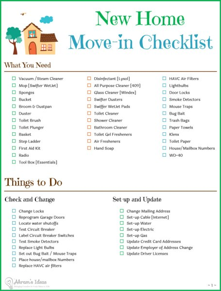 Tips checklist for moving to a new home akram 39 s ideas for Checklist for building a new house