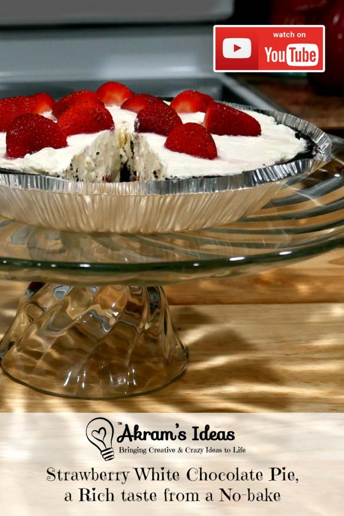A quickie bake recipe for Strawberry White Chocolate Pie, a decadent white chocolate cheesecake filling over strawberries in an Oreo crust.