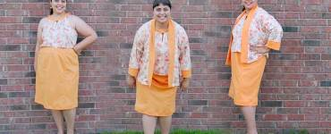 Review of Butterick 6464 featuring a kimono jacket, halter top and pencil skirt.