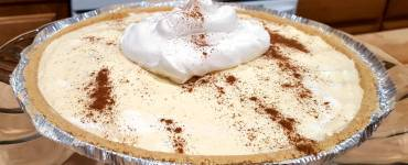 Recipe for a rich and creamy no-bake eggnog pie with only 4 ingredients, that makes for a quick and easy holiday make.
