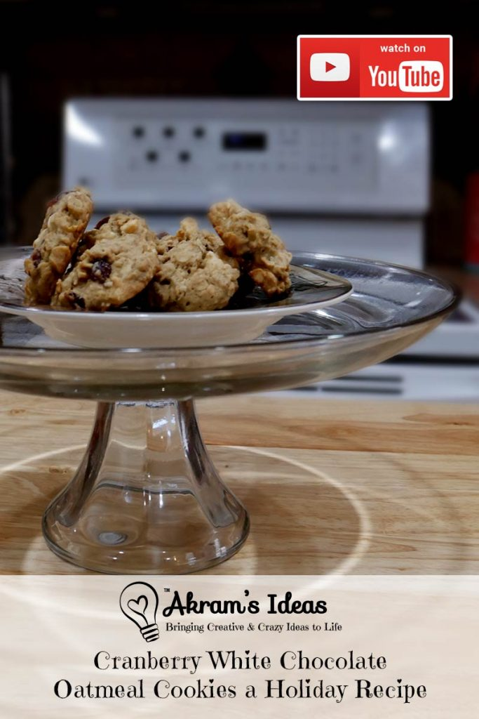 Recipe for White Chocolate Cranberry Oatmeal Cookies, a holiday twist on a soft chewy oatmeal cookie by adding dried cranberries and white chocolate chips.