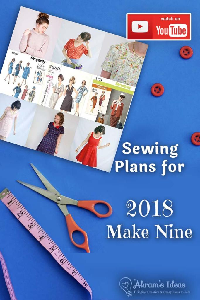 Sharing my plans for the #2018MakeNine that include patterns from the Tilly & the Buttons Love at First Stitch book and my #VintagePledge patterns.