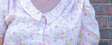 Another #makenine checked off, sharing my lovely Mimi blouse from the book Love at First Stitch made in a beautiful vintage pink cotton floral print.