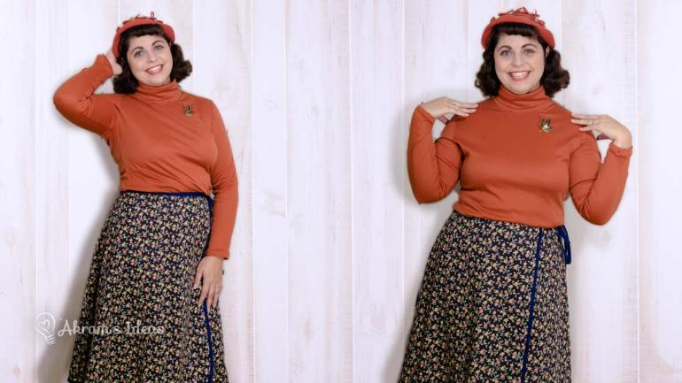The perfect pairing for autumn, a cinnamon colored Freya top and a UFO wrap skirt in a floral navy print.