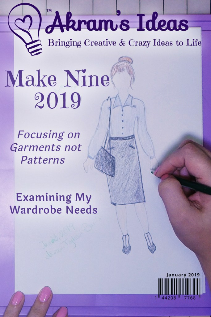 Sharing my #makenine2019 plans, by sketching them out on my 1990 Crayola Fashion Designer. Focusing on 9 garments that I want to make and need in my wardrobe, as opposed to 9 specific patterns.