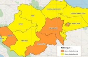 Peta risiko penyebaran virus Corona di Provinsi Jambi periode 26 Oktober-1 November 2020.