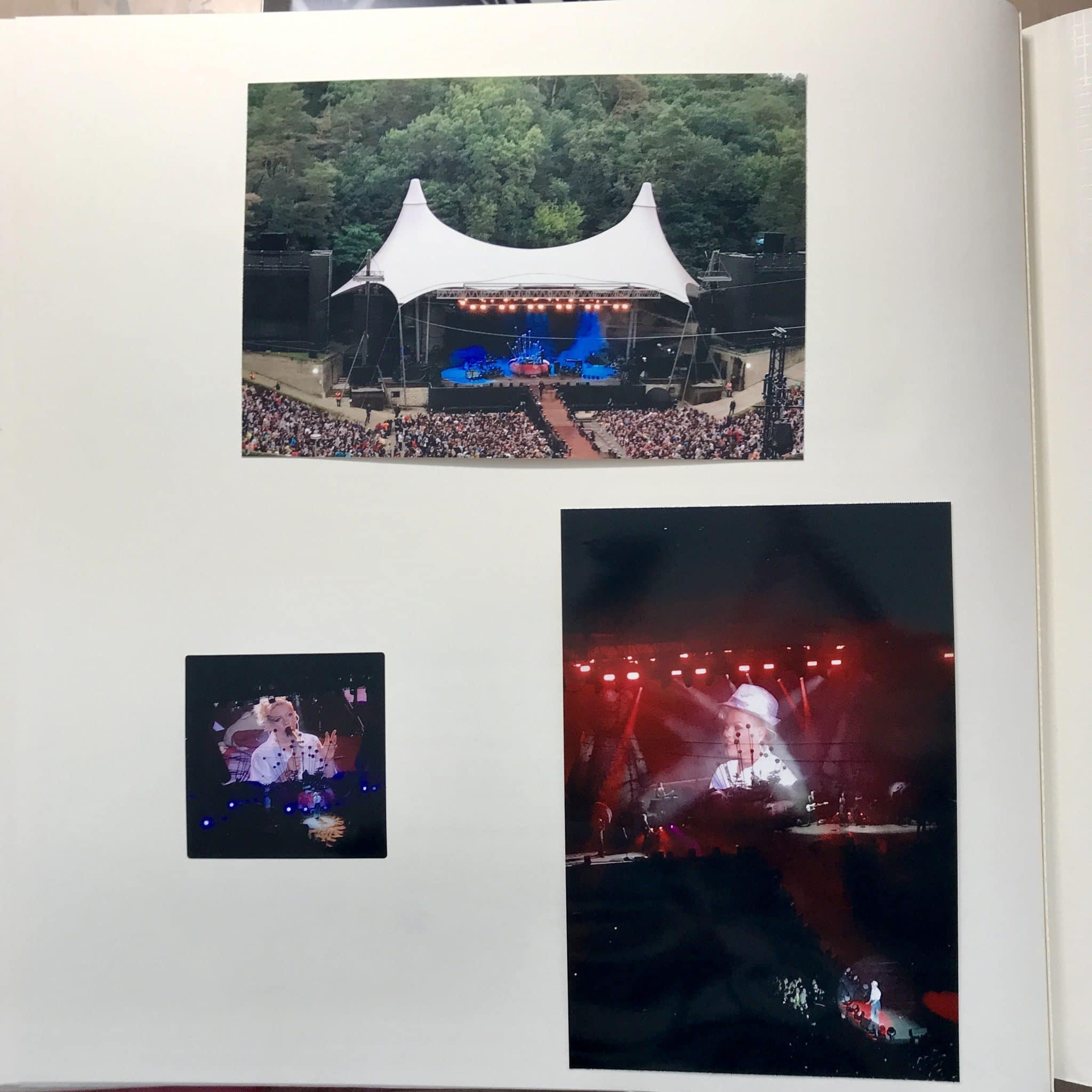Drei Bilder, eines zeigt die Bühne bei Tageslicht, dann noch zwei Großaufnahmen von P!nk