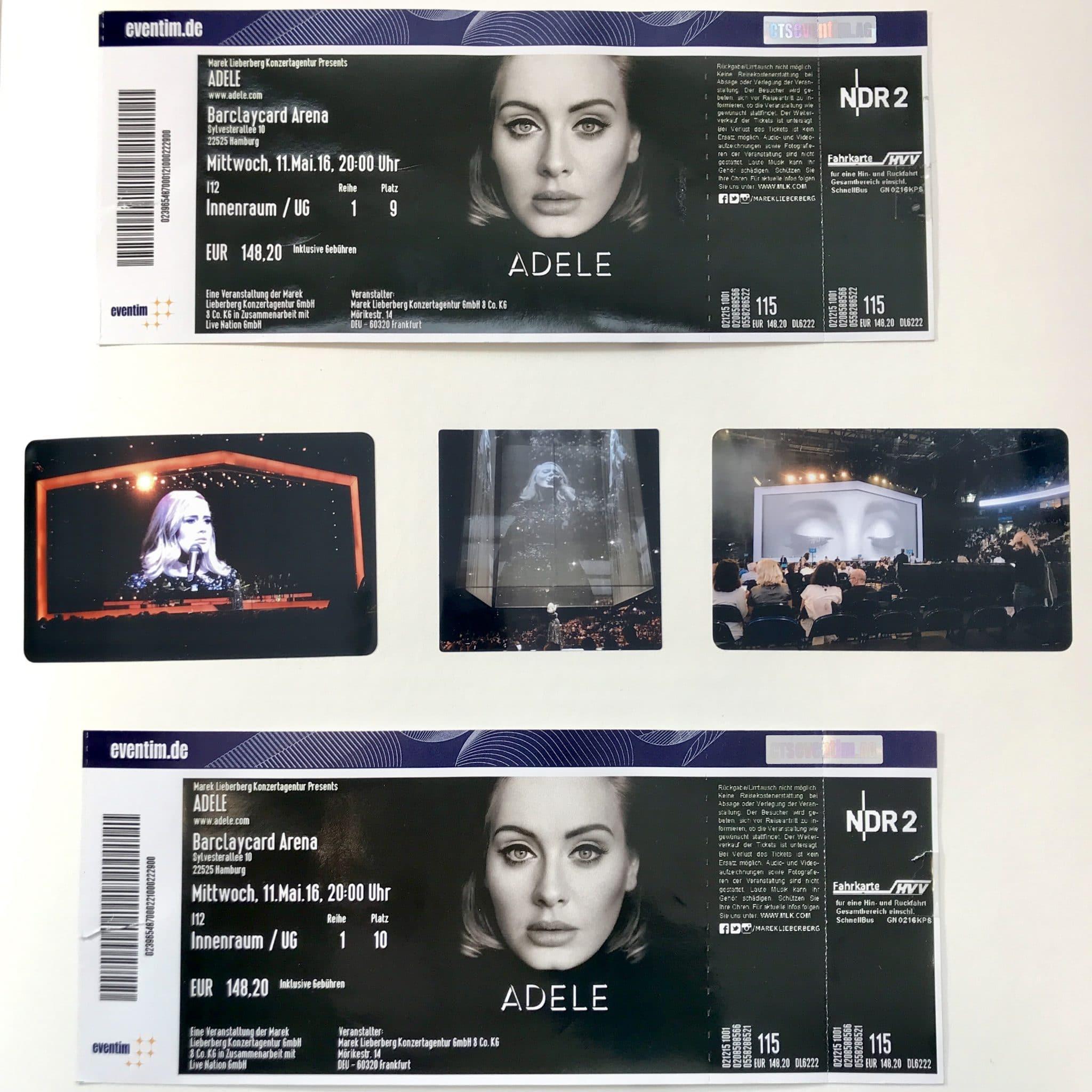 Die Tickets und drei Bilder vom Konzert