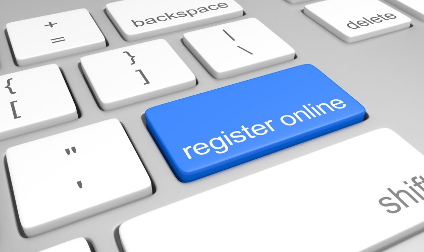 Register online key on a computer keyboard for easy registration access
