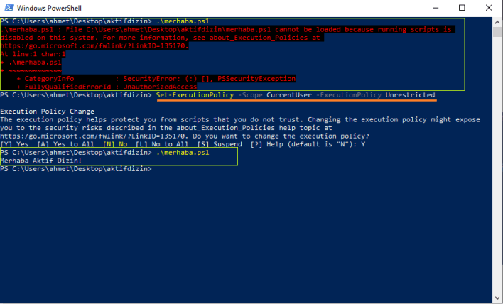 PowerShell Set-ExecutionPolicy Komutu