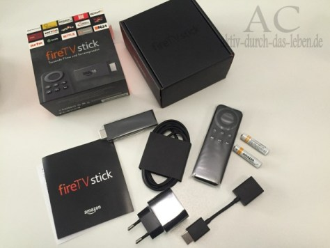 Inhalt der Box mit dem fireTV Stick.