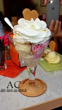 Mascarpone-Holunder-Eis und Joghurt-Sanddorn-Eis mit Sahne