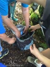 Die Kinder sammeln etwas Weiches aus dem Wald