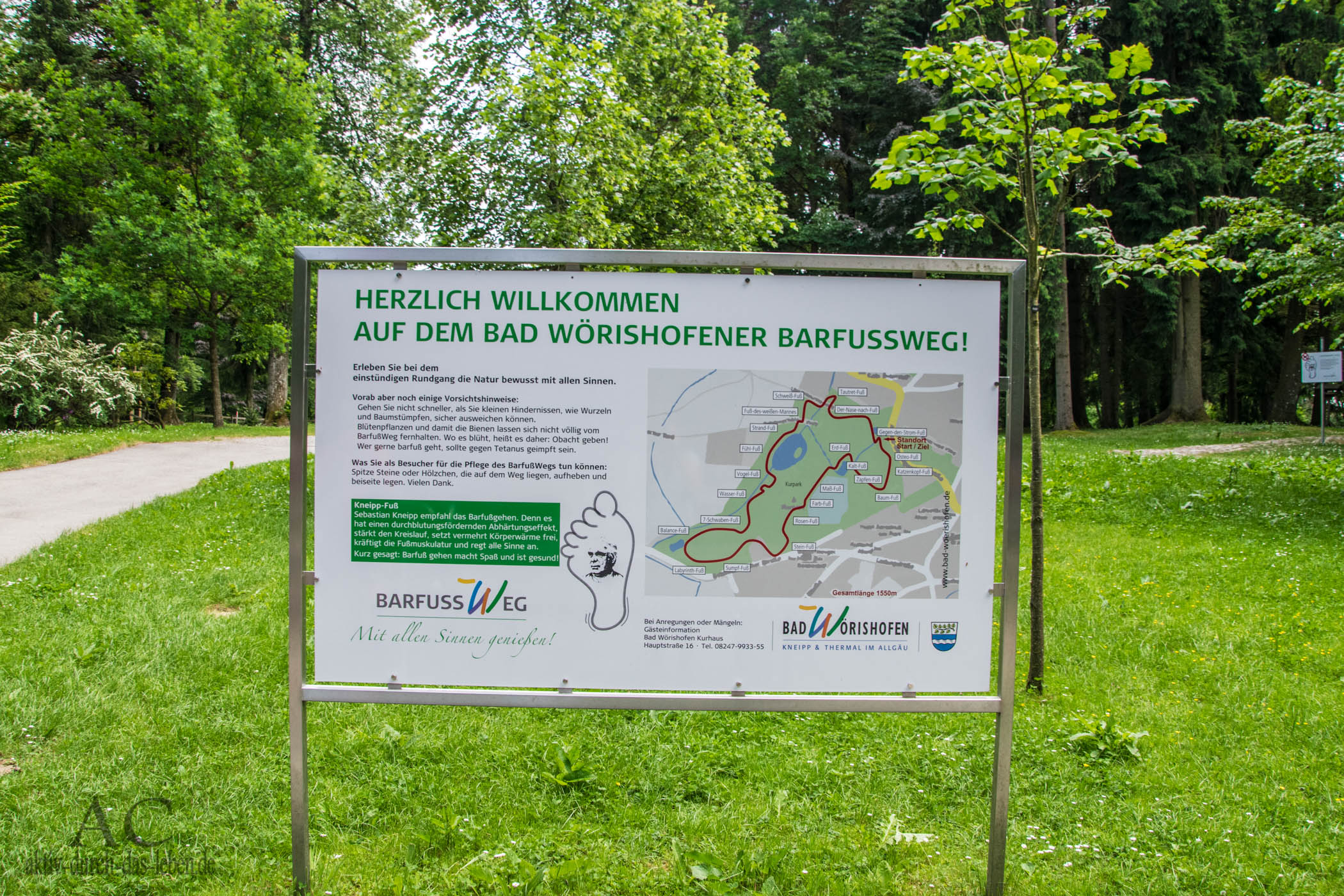 Informationstafel Bad Wörishofer Barfußweg