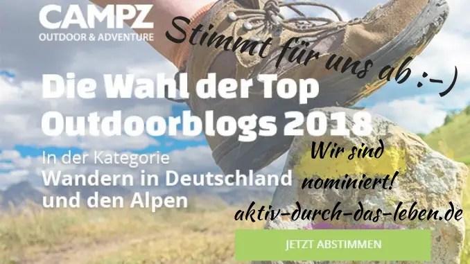 Abstimmung: Der CAMPZ Top Outdoorblog 2018 – Kategorie Wandern in Deutschland