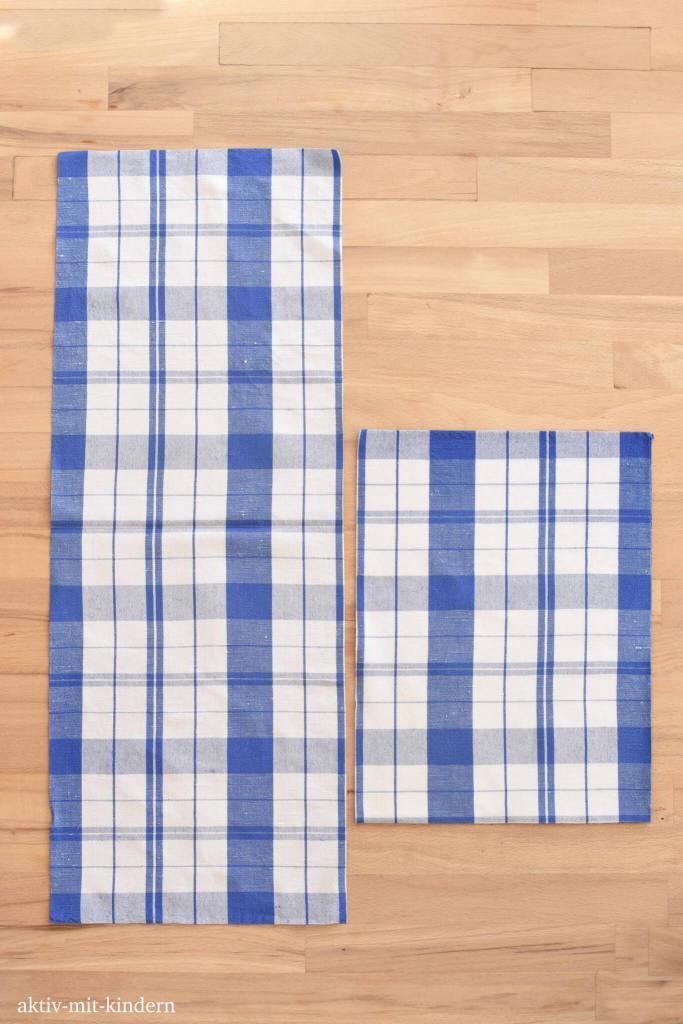 Stoffstücke eines Küchentuches für ein Baumwollsäckchen