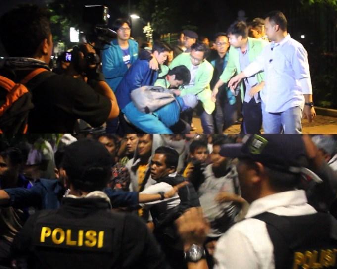 Ratusan mahasiswa dari Badan Eksekutif Mahasiswa Seluruh Indonesia (BEM SI) yang masih bertahan hingga menjelang tengah malam akhirnya dibubar paksa oleh aparat kepolisian, Jumat (20/10). AKTUAL/WARNOTO
