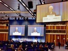 Wakil Tetap Indonesia di Wina Dubes Dr. Darmansjah Djumala dalam 2020 International Conference on Nuclear Security (ICONS) of the International Atomic Energy Agency (IAEA) di Kantor PBB Wina menegaskan Keamanan nuklir harus komprehensif . (KBRI)