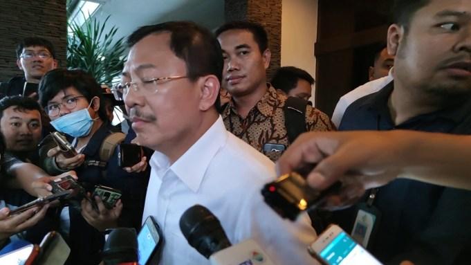 Menteri Kesehatan Terawan Agus saat diwawancarai oleh media di Halim Perdanakusuma (15/2/2020)