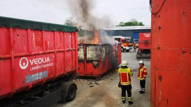 Photo of Containerbrand im Entsorgungsunternehmen