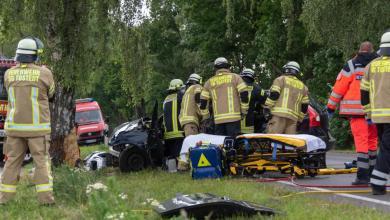 Bild von Autofahrer bei Unfall auf B75 lebensgefährlich verletzt