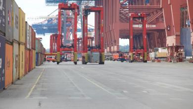 Bild von Großeinsatz am Containerhafen: Van-Carrier kippt auf die Seite