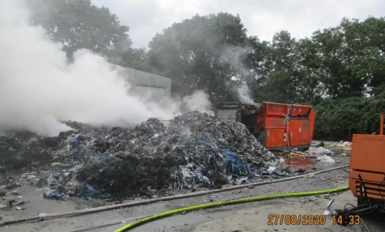 Bild von Brand auf einem Wertstoffhof in Wischhafen