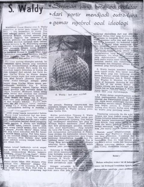 Artikel tentang S. Waldy: Seniman jang Berdjiwa Proletar