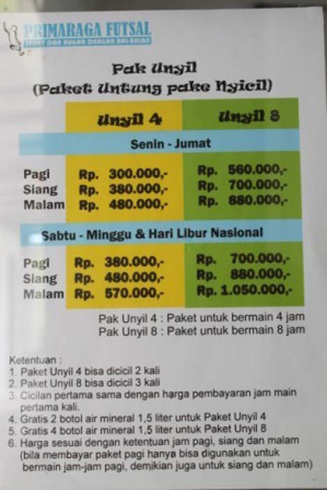 Daftar harga Pak Unyil