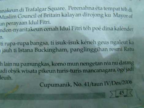 Kertas pembungkus gado-gado yang berasal dari Buku Pelajaran Bahasa Sunda