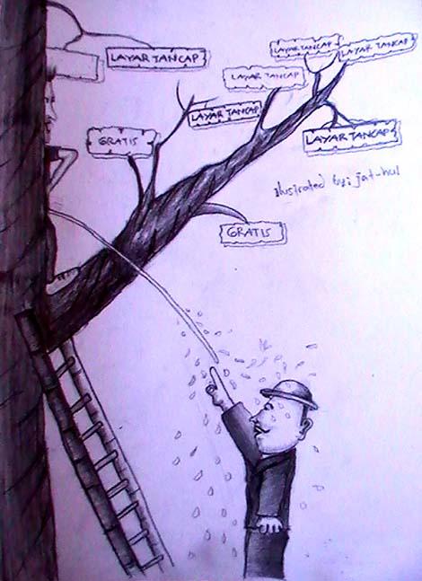 Ilustrasi penonton Misbar yang menonton dari atas pohon, karena tak ada uang untuk membeli tiket