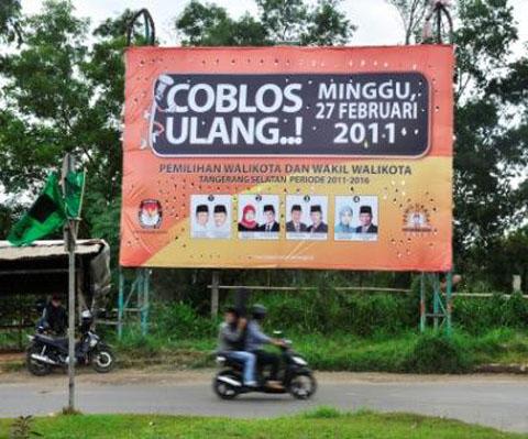 Banner sosialisasi Pemilihan Ulang Pemilukada Tangerang Selatan