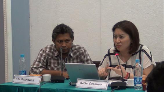 Keiko Okamura (Media/Art Kitchen) dan Ade Darmawan (Direktur ruangrupa, sekaligus Kurator Media/Art Kitchen Jakarta), turut hadir dalam acara konferensi pers OK. Video -- The 6th Jakarta International Video Festival.